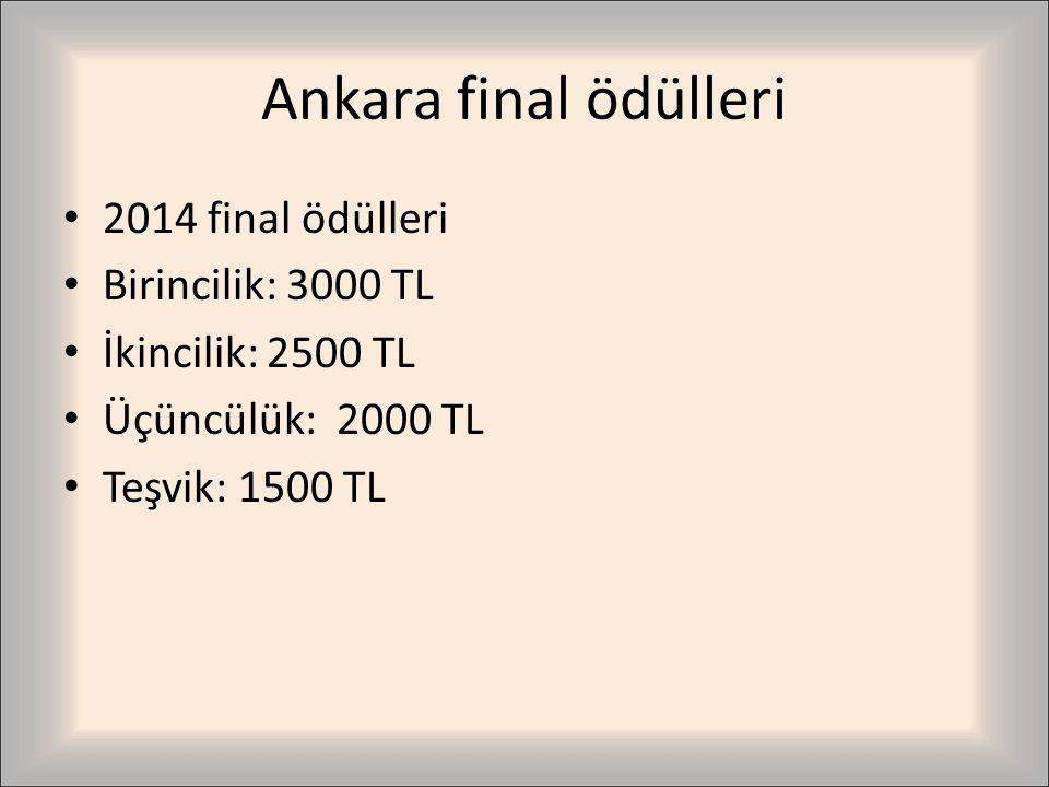 Ankara final ödülleri 2014 final ödülleri Birincilik: 3000 TL İkincilik: 2500 TL Üçüncülük: 2000 TL Teşvik: 1500 TL