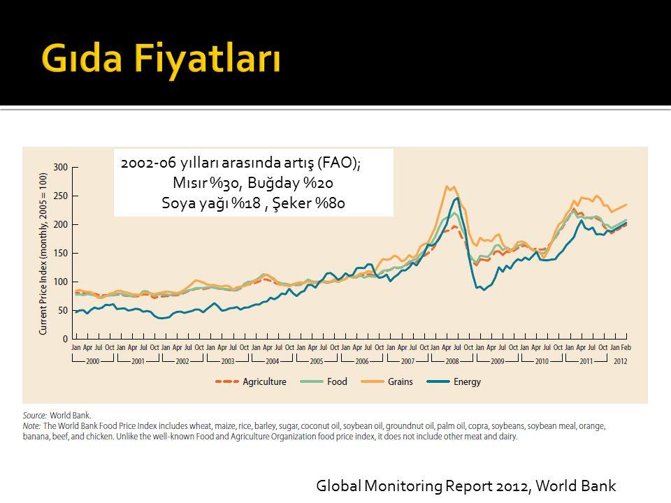 2002-06 yılları arasında artış (FAO); Mısır %30, Buğday %20 Soya yağı %18, Şeker %80 Global Monitoring Report 2012, World Bank