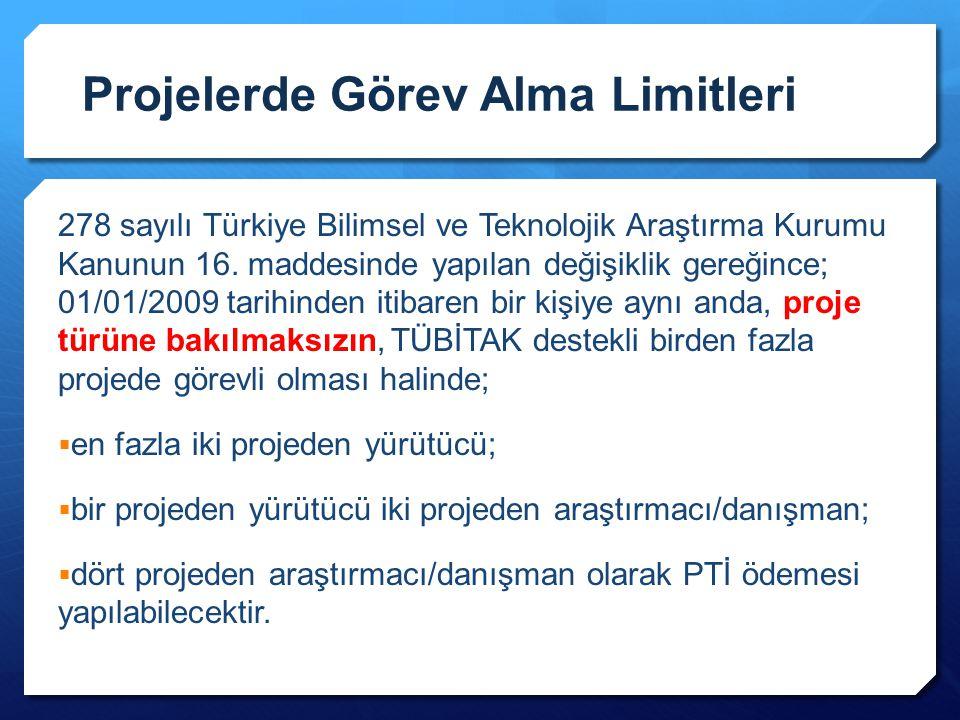 Projelerde Görev Alma Limitleri 278 sayılı Türkiye Bilimsel ve Teknolojik Araştırma Kurumu Kanunun 16. maddesinde yapılan değişiklik gereğince; 01/01/