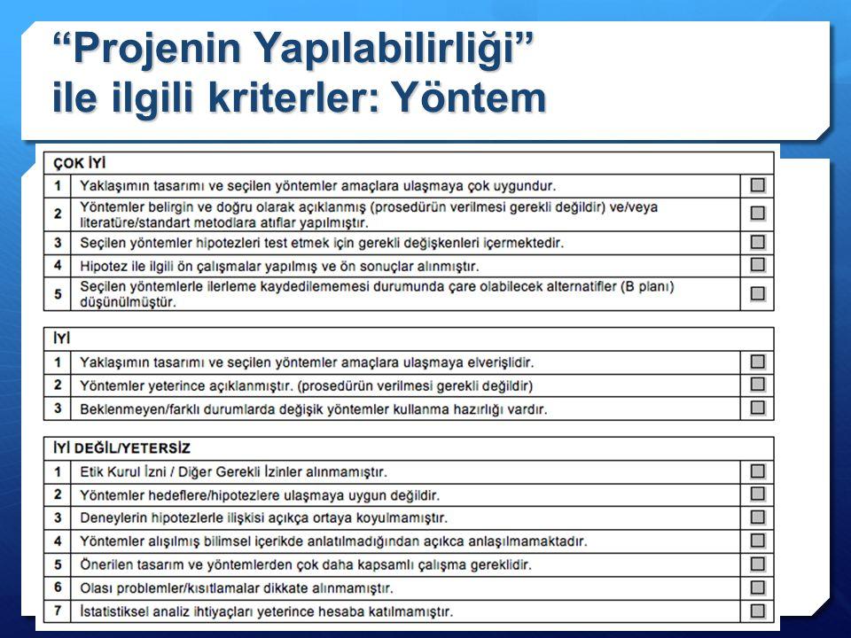 """""""Projenin Yapılabilirliği"""" ile ilgili kriterler: Yöntem"""