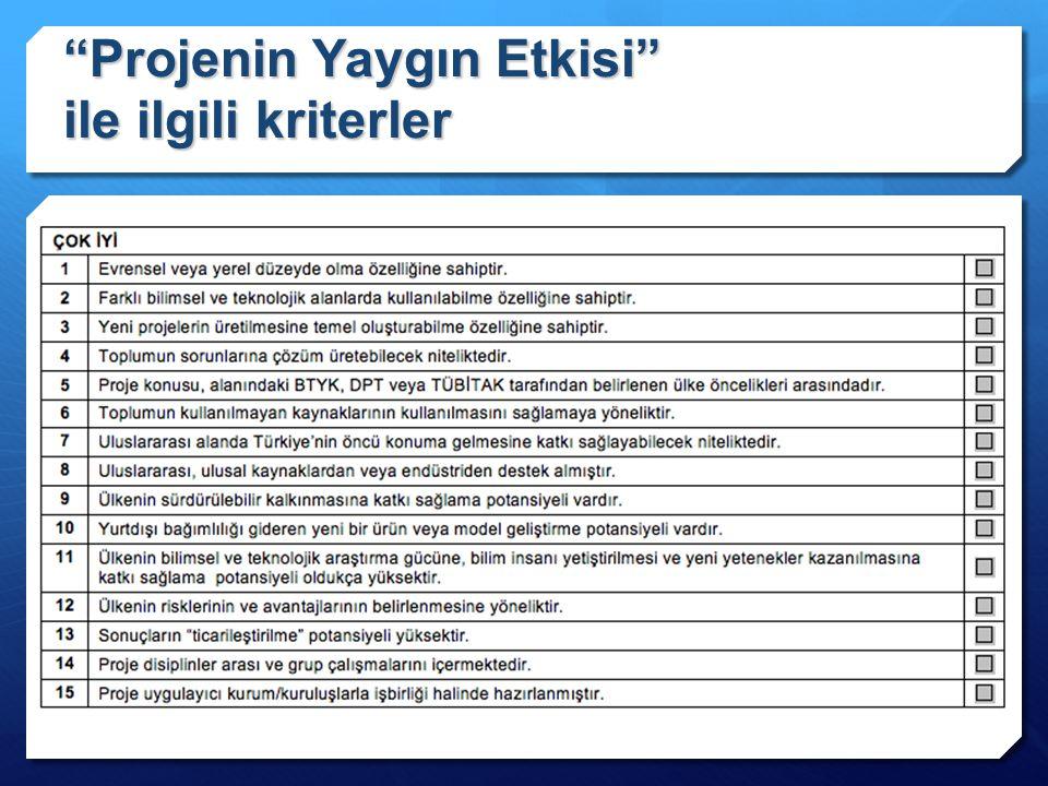 """""""Projenin Yaygın Etkisi"""" ile ilgili kriterler"""