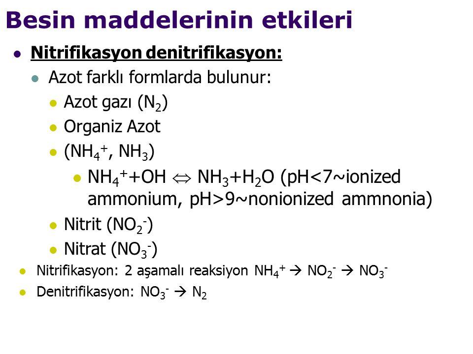 Besin maddelerinin etkileri Nitrifikasyon denitrifikasyon: Azot farklı formlarda bulunur: Azot gazı (N 2 ) Organiz Azot (NH 4 +, NH 3 ) NH 4 + +OH  NH 3 +H 2 O (pH 9~nonionized ammnonia) Nitrit (NO 2 - ) Nitrat (NO 3 - ) Nitrifikasyon: 2 aşamalı reaksiyon NH 4 +  NO 2 -  NO 3 - Denitrifikasyon: NO 3 -  N 2
