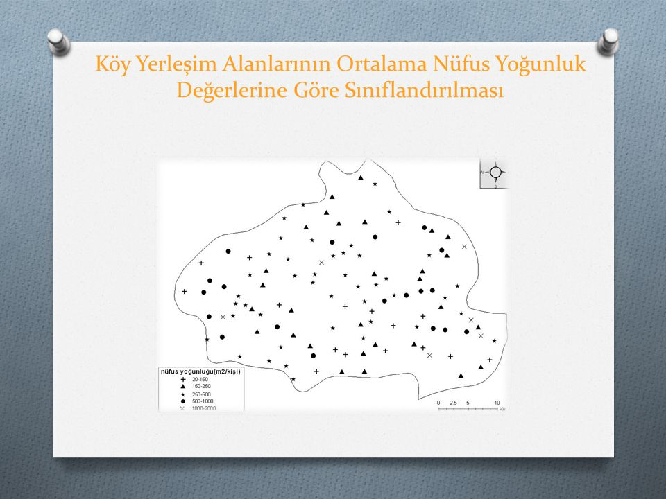 Köy Yerleşim Alanlarının Ortalama Nüfus Yoğunluk Değerlerine Göre Sınıflandırılması