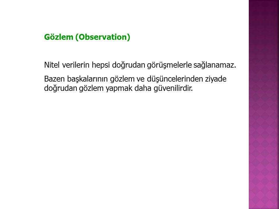 Gözlem (Observation) Nitel verilerin hepsi doğrudan görüşmelerle sağlanamaz. Bazen başkalarının gözlem ve düşüncelerinden ziyade doğrudan gözlem yapma