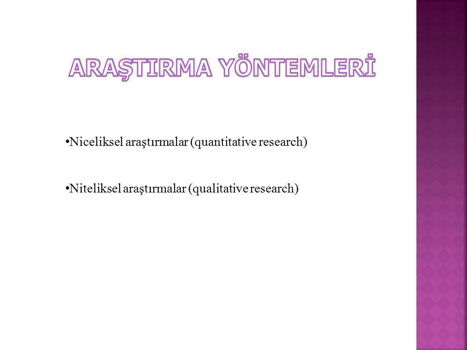 Niceliksel araştırmalar (quantitative research) Niteliksel araştırmalar (qualitative research)
