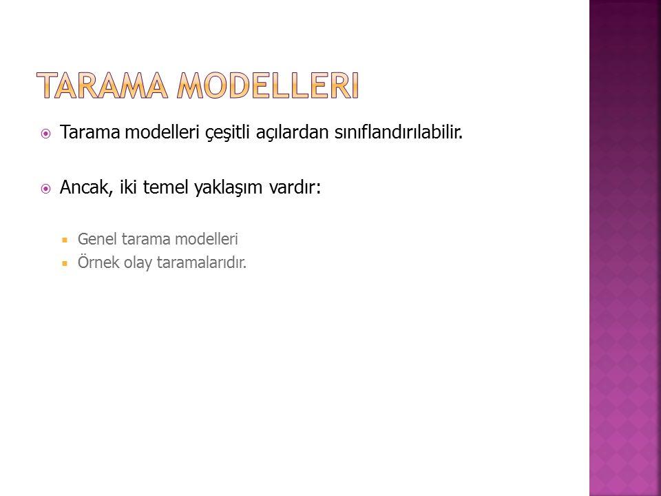  Tarama modelleri çeşitli açılardan sınıflandırılabilir.  Ancak, iki temel yaklaşım vardır:  Genel tarama modelleri  Örnek olay taramalarıdır.