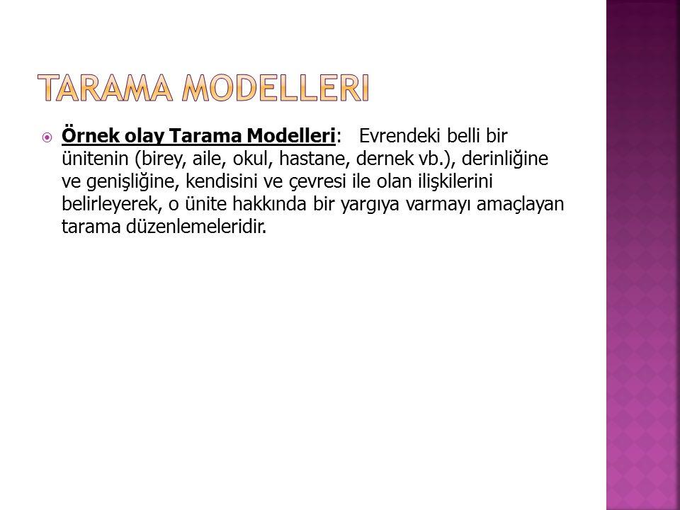  Örnek olay Tarama Modelleri: Evrendeki belli bir ünitenin (birey, aile, okul, hastane, dernek vb.), derinliğine ve genişliğine, kendisini ve çevresi