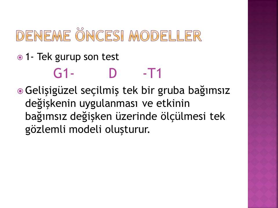  1- Tek gurup son test G1- D -T1  Gelişigüzel seçilmiş tek bir gruba bağımsız değişkenin uygulanması ve etkinin bağımsız değişken üzerinde ölçülmesi
