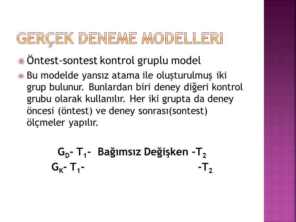  Öntest-sontest kontrol gruplu model  Bu modelde yansız atama ile oluşturulmuş iki grup bulunur. Bunlardan biri deney diğeri kontrol grubu olarak ku