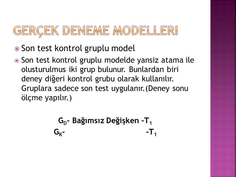  Son test kontrol gruplu model  Son test kontrol gruplu modelde yansiz atama ile olusturulmus iki grup bulunur. Bunlardan biri deney diğeri kontrol