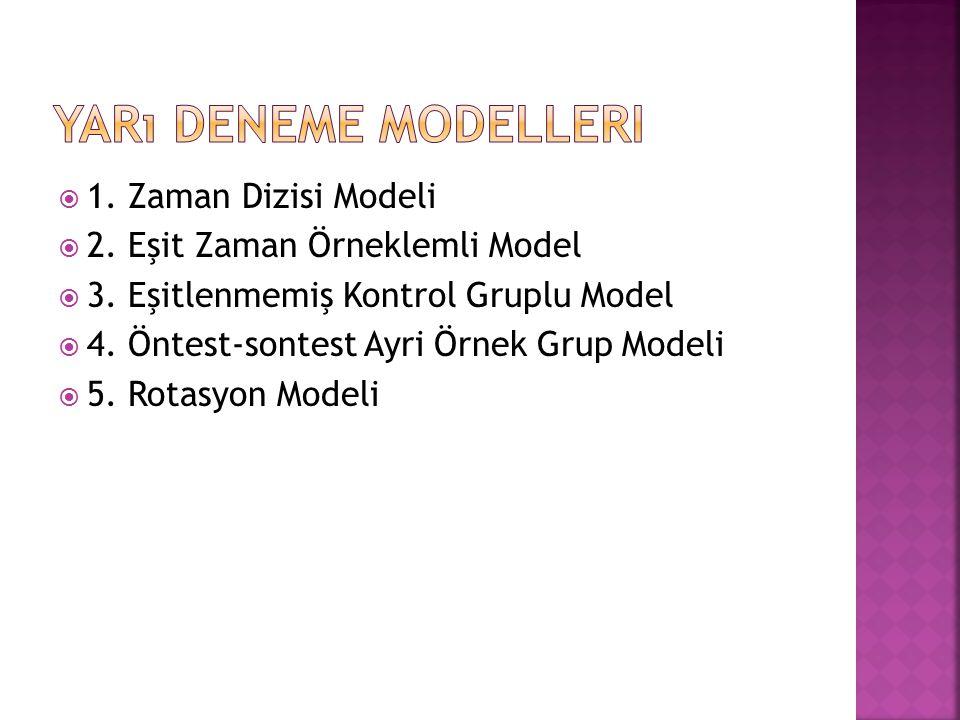  1. Zaman Dizisi Modeli  2. Eşit Zaman Örneklemli Model  3. Eşitlenmemiş Kontrol Gruplu Model  4. Öntest-sontest Ayri Örnek Grup Modeli  5. Rotas