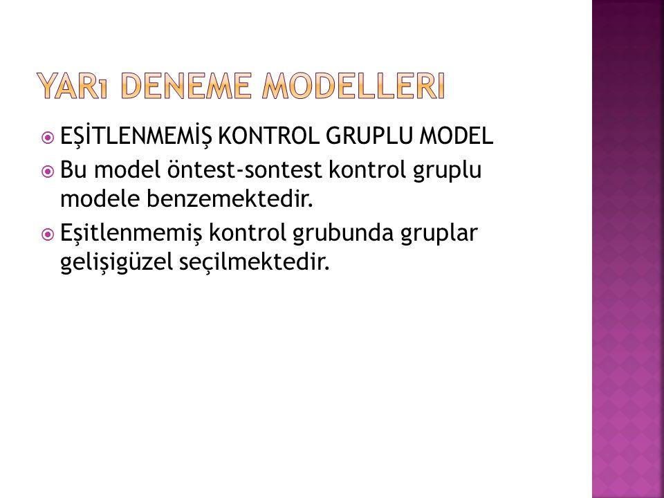  EŞİTLENMEMİŞ KONTROL GRUPLU MODEL  Bu model öntest-sontest kontrol gruplu modele benzemektedir.  Eşitlenmemiş kontrol grubunda gruplar gelişigüzel