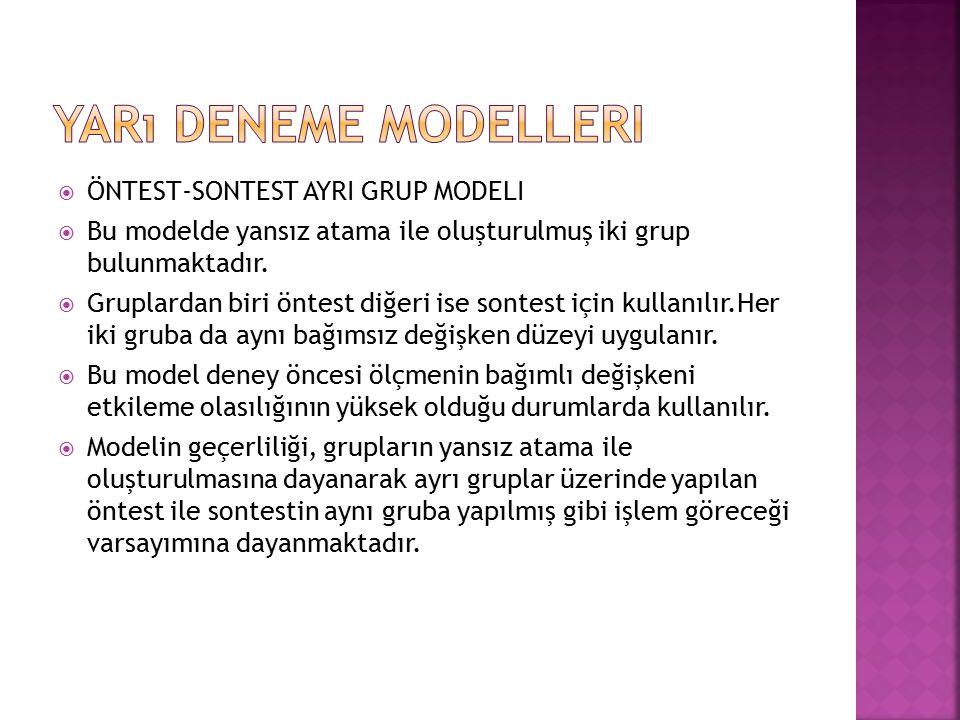  ÖNTEST-SONTEST AYRI GRUP MODELI  Bu modelde yansız atama ile oluşturulmuş iki grup bulunmaktadır.  Gruplardan biri öntest diğeri ise sontest için