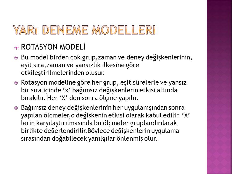  ROTASYON MODELİ  Bu model birden çok grup,zaman ve deney değişkenlerinin, eşit sıra,zaman ve yansızlık ilkesine göre etkileştirilmelerinden oluşur.