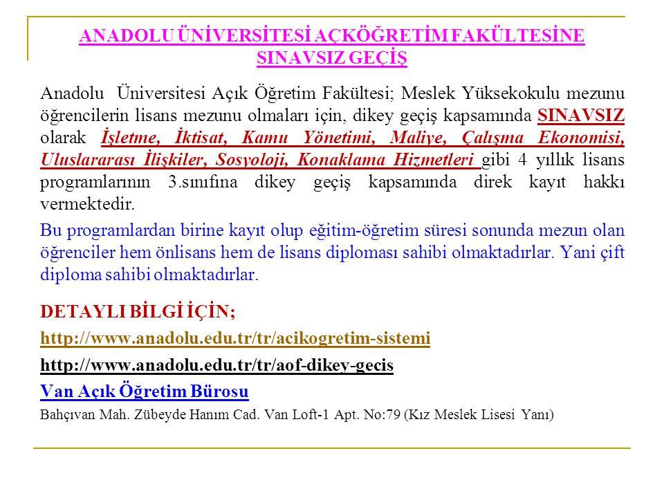 ANADOLU ÜNİVERSİTESİ AÇKÖĞRETİM FAKÜLTESİNE SINAVSIZ GEÇİŞ Anadolu Üniversitesi Açık Öğretim Fakültesi; Meslek Yüksekokulu mezunu öğrencilerin lisans