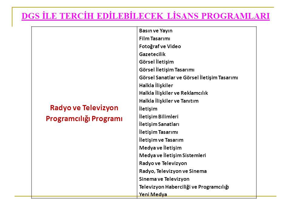 DGS İLE TERCİH EDİLEBİLECEK LİSANS PROGRAMLARI Radyo ve Televizyon Programcılığı Programı Basın ve Yayın Film Tasarımı Fotoğraf ve Video Gazetecilik G