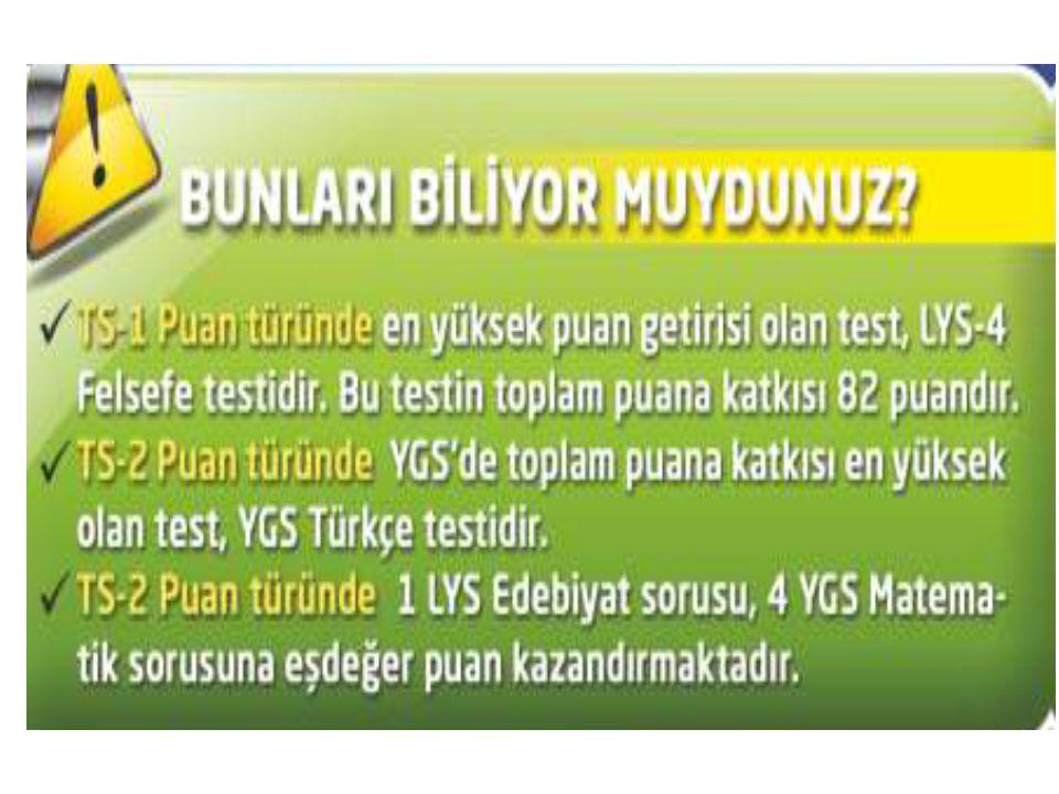 LYS'de Puanlar - DİL ( Puanlamada testlerin yüzdelik ağırlığı) Puan Türleri YGS LYS-5 Yabancı Dil TürkçeT.