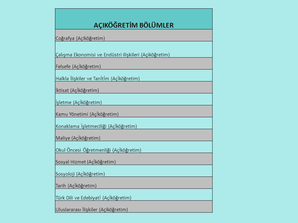 AÇIKÖĞRETİM BÖLÜMLER Coğrafya (AçIköğretim) Çalışma Ekonomisi ve Endüstri ilişkileri (Açiköğretim) Felsefe (Açİköğretim) Halkla İlişkiler ve Tanİtİm (Açİköğretim) İktisat (Açİköğretim) İşletme (Açİköğretim) Kamu Yönetimi (Açİköğretim) Konaklama İşletmeciliği (Açİköğretim) Maliye (Açİköğretim) Okul Öncesi Öğretmenliği (Açİköğretim) Sosyal Hizmet (Açİköğretim) Sosyoloji (Açİköğretim) Tarih (Açİköğretim) Türk Dili ve Edebiyatİ (Açİköğretim) Uluslararası İlişkiler (AçIköğretim)