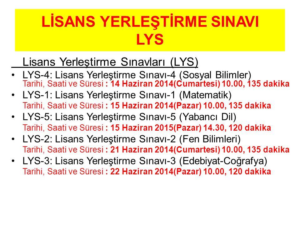 LİSANS YERLEŞTİRME SINAVI LYS Lisans Yerleştirme Sınavları (LYS) LYS-4: Lisans Yerleştirme Sınavı-4 (Sosyal Bilimler) Tarihi, Saati ve Süresi : 14 Haziran 2014(Cumartesi) 10.00, 135 dakika LYS-1: Lisans Yerleştirme Sınavı-1 (Matematik) Tarihi, Saati ve Süresi : 15 Haziran 2014(Pazar) 10.00, 135 dakika LYS-5: Lisans Yerleştirme Sınavı-5 (Yabancı Dil) Tarihi, Saati ve Süresi : 15 Haziran 2015(Pazar) 14.30, 120 dakika LYS-2: Lisans Yerleştirme Sınavı-2 (Fen Bilimleri) Tarihi, Saati ve Süresi : 21 Haziran 2014(Cumartesi) 10.00, 135 dakika LYS-3: Lisans Yerleştirme Sınavı-3 (Edebiyat-Coğrafya) Tarihi, Saati ve Süresi : 22 Haziran 2014(Pazar) 10.00, 120 dakika