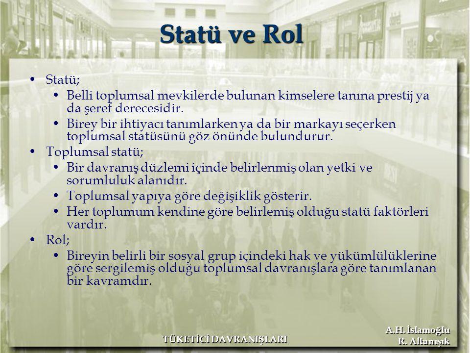 A.H. İslamoğlu R. Altunışık TÜKETİCİ DAVRANIŞLARI Statü ve Rol Statü; Belli toplumsal mevkilerde bulunan kimselere tanına prestij ya da şeref derecesi