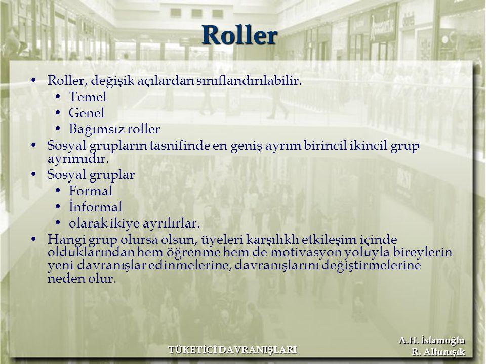 A.H. İslamoğlu R. Altunışık TÜKETİCİ DAVRANIŞLARI Roller Roller, değişik açılardan sınıflandırılabilir. Temel Genel Bağımsız roller Sosyal grupların t