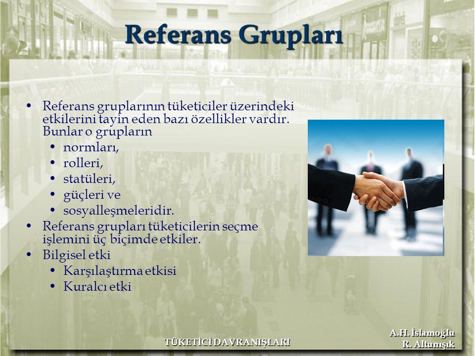 A.H. İslamoğlu R. Altunışık TÜKETİCİ DAVRANIŞLARI Referans Grupları Referans gruplarının tüketiciler üzerindeki etkilerini tayin eden bazı özellikler