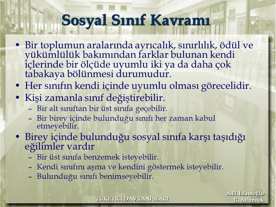 A.H. İslamoğlu R. Altunışık TÜKETİCİ DAVRANIŞLARI Sosyal Sınıf Kavramı Bir toplumun aralarında ayrıcalık, sınırlılık, ödül ve yükümlülük bakımından fa