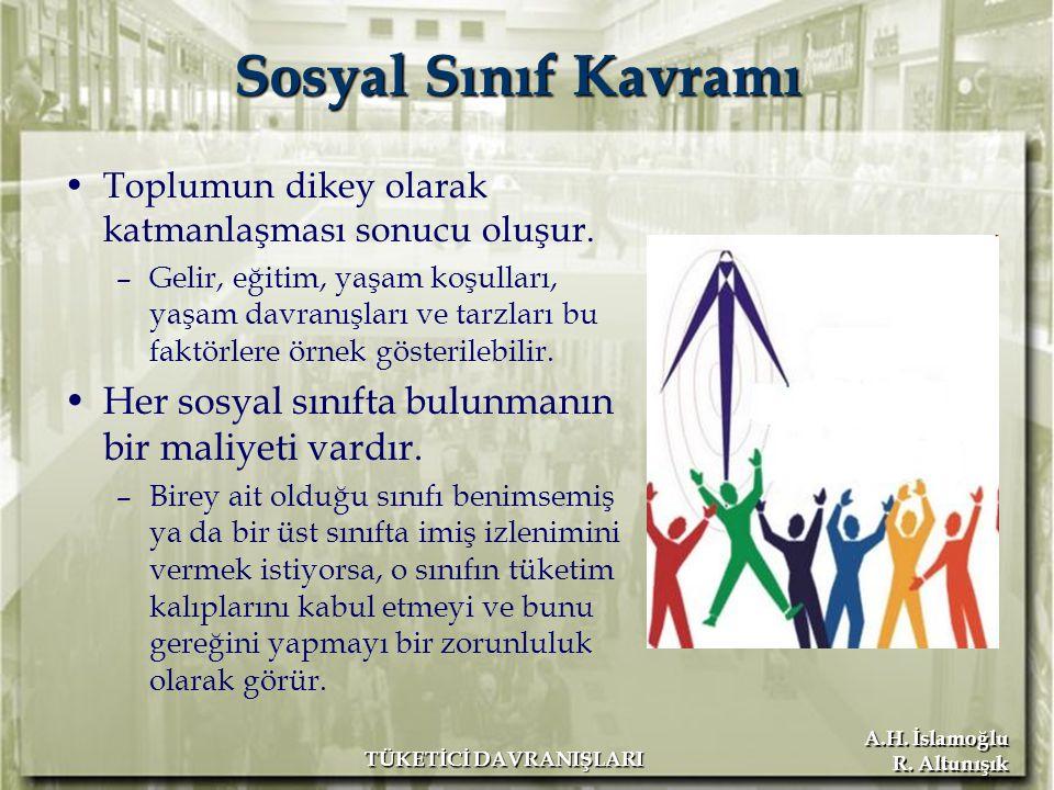 A.H. İslamoğlu R. Altunışık TÜKETİCİ DAVRANIŞLARI Sosyal Sınıf Kavramı Toplumun dikey olarak katmanlaşması sonucu oluşur. –Gelir, eğitim, yaşam koşull