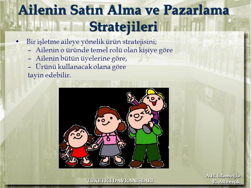 A.H. İslamoğlu R. Altunışık TÜKETİCİ DAVRANIŞLARI Ailenin Satın Alma ve Pazarlama Stratejileri Bir işletme aileye yönelik ürün stratejisini; –Ailenin