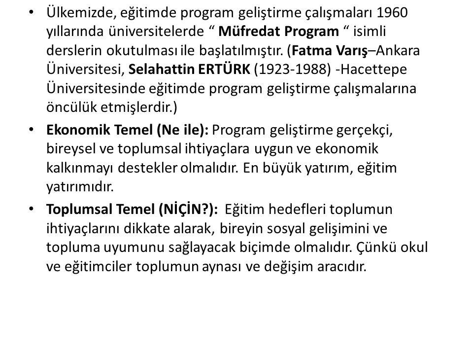Ülkemizde, eğitimde program geliştirme çalışmaları 1960 yıllarında üniversitelerde Müfredat Program isimli derslerin okutulması ile başlatılmıştır.