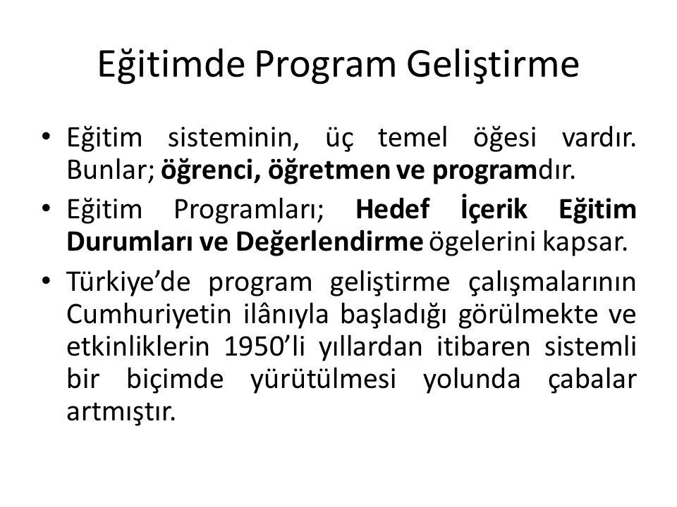 Eğitimde Program Geliştirme Eğitim sisteminin, üç temel öğesi vardır.