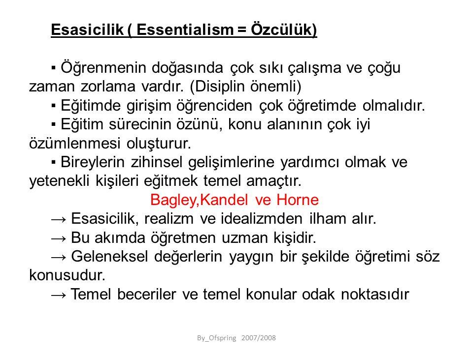 By_Ofspring 2007/2008 Esasicilik ( Essentialism = Özcülük) ▪ Öğrenmenin doğasında çok sıkı çalışma ve çoğu zaman zorlama vardır.