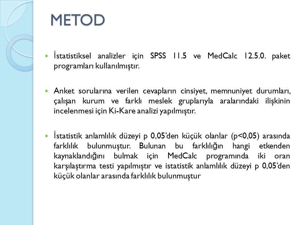METOD İ statistiksel analizler için SPSS 11.5 ve MedCalc 12.5.0. paket programları kullanılmıştır. Anket sorularına verilen cevapların cinsiyet, memnu