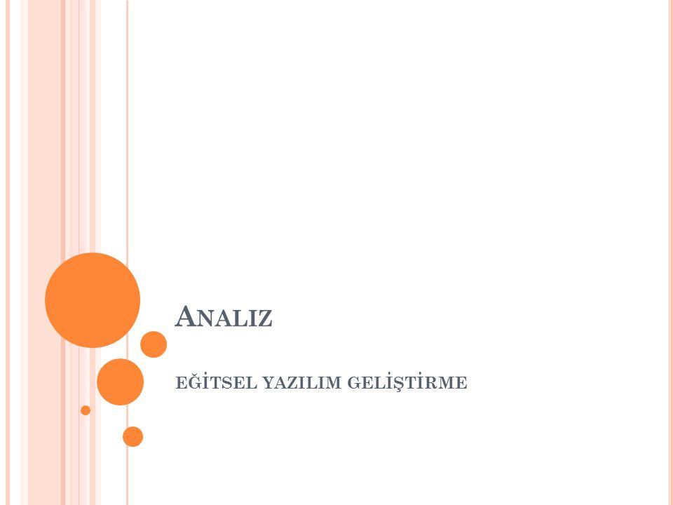 A NALIZ İçeriğin Analizi Öğrenci Özelliklerinin Analizi Sınırlıkların Belirlenmesi Bütçe Oluşturulması Proje Planı Dokümanı Oluşturulması