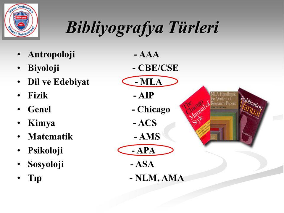 Bibliyografya Türleri Antropoloji - AAA Biyoloji - CBE/CSE Dil ve Edebiyat - MLA Fizik - AIP Genel - Chicago Kimya - ACS Matematik - AMS Psikoloji - A