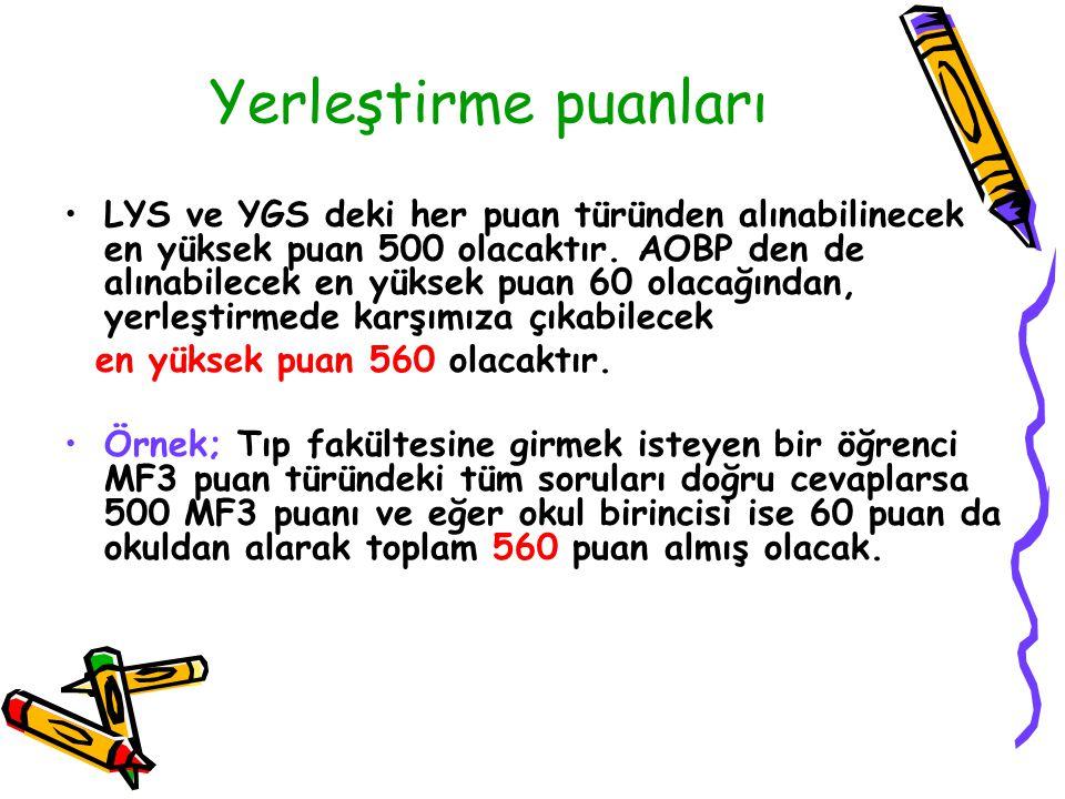 Yerleştirme puanları LYS ve YGS deki her puan türünden alınabilinecek en yüksek puan 500 olacaktır.