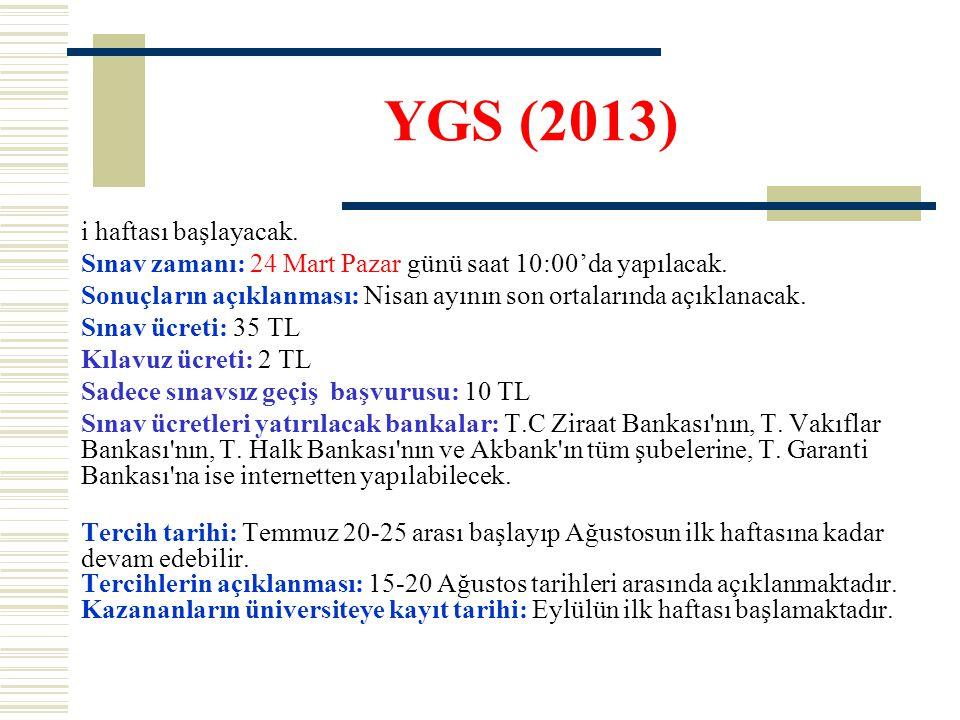 YGS (2013) i haftası başlayacak. Sınav zamanı: 24 Mart Pazar günü saat 10:00'da yapılacak.