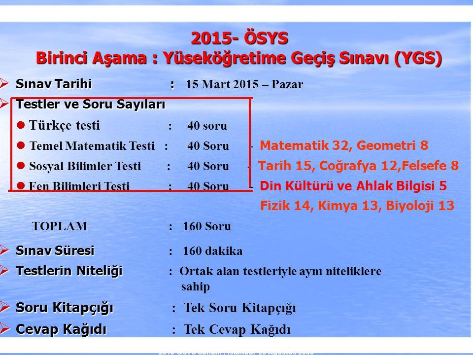 2010-ÖSYS Sunum, İstanbul 29 Ağustos 2009 2015- ÖSYS Birinci Aşama : Yüseköğretime Geçiş Sınavı (YGS)  Sınav Tarihi :  Sınav Tarihi : 15 Mart 2015 –