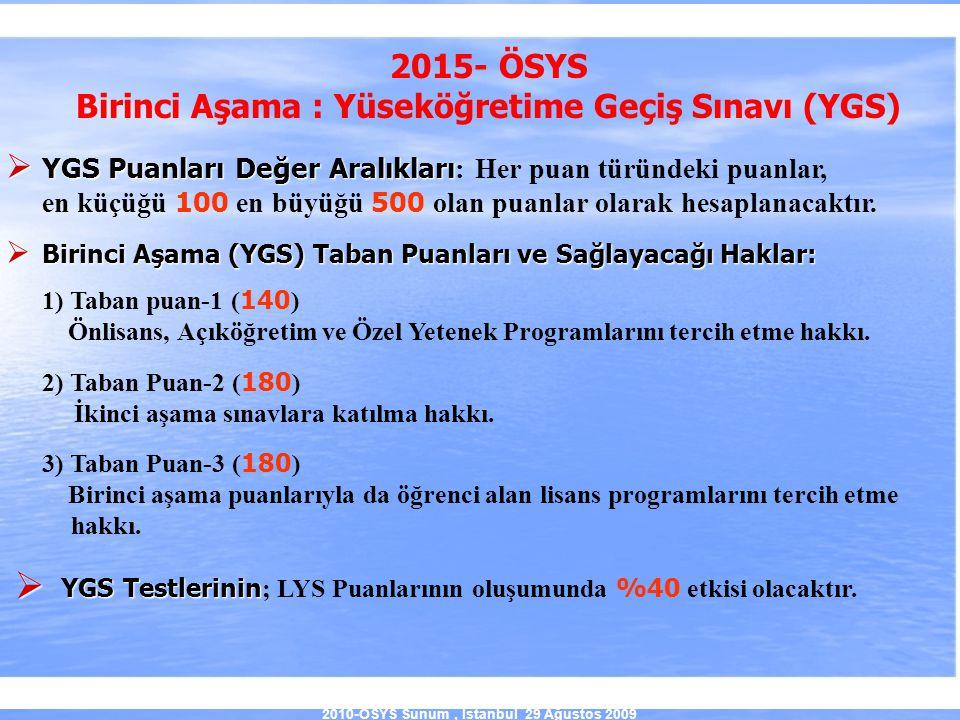 2010-ÖSYS Sunum, İstanbul 29 Ağustos 2009 2015- ÖSYS Birinci Aşama : Yüseköğretime Geçiş Sınavı (YGS)  YGS Puanları Değer Aralıkları  YGS Puanları D