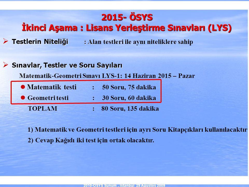 2010-ÖSYS Sunum, İstanbul 29 Ağustos 2009 2015- ÖSYS İkinci Aşama : Lisans Yerleştirme Sınavları (LYS)  Testlerin Niteliği : Al  Testlerin Niteliği