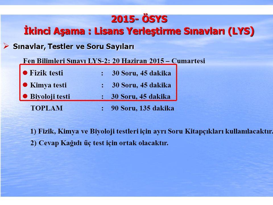 2010-ÖSYS Sunum, İstanbul 29 Ağustos 2009 2015- ÖSYS İkinci Aşama : Lisans Yerleştirme Sınavları (LYS )  Sınavlar, Testler ve Soru Sayıları Fen Bilim