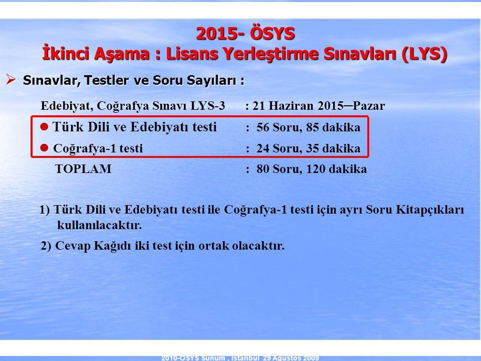 2010-ÖSYS Sunum, İstanbul 29 Ağustos 2009 2015- ÖSYS İkinci Aşama : Lisans Yerleştirme Sınavları (LYS)  Sınavlar, Testler ve Soru Sayıları : Edebiyat