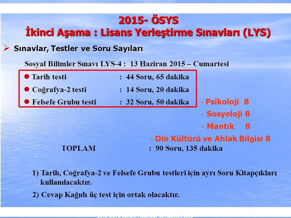 2010-ÖSYS Sunum, İstanbul 29 Ağustos 2009 2015- ÖSYS İkinci Aşama : Lisans Yerleştirme Sınavları (LYS)  Sınavlar, Testler ve Soru Sayıları Sosyal Bil
