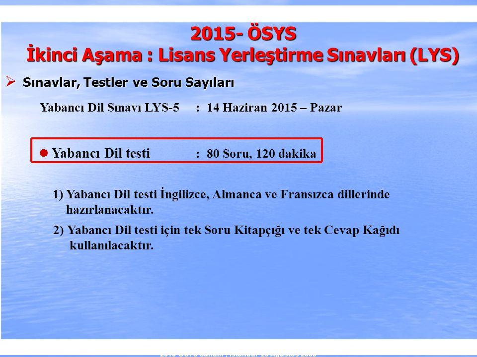 2010-ÖSYS Sunum, İstanbul 29 Ağustos 2009 2015- ÖSYS İkinci Aşama : Lisans Yerleştirme Sınavları (LYS)  Sınavlar, Testler ve Soru Sayıları Yabancı Di