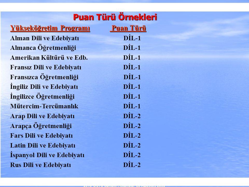 2010-ÖSYS Sunum, İstanbul 29 Ağustos 2009 Yükseköğretim Programı Puan Türü Alman Dili ve Edebiyatı DİL-1 Almanca Öğretmenliği DİL-1 Amerikan Kültürü v