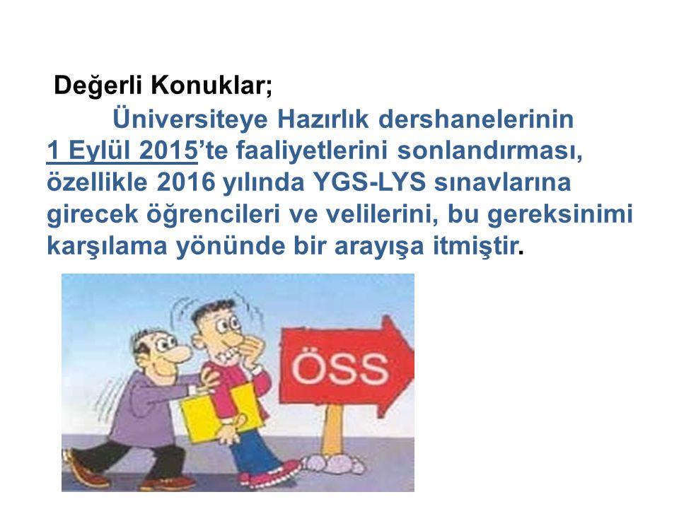 Değerli Konuklar; Üniversiteye Hazırlık dershanelerinin 1 Eylül 2015'te faaliyetlerini sonlandırması, özellikle 2016 yılında YGS-LYS sınavlarına girec