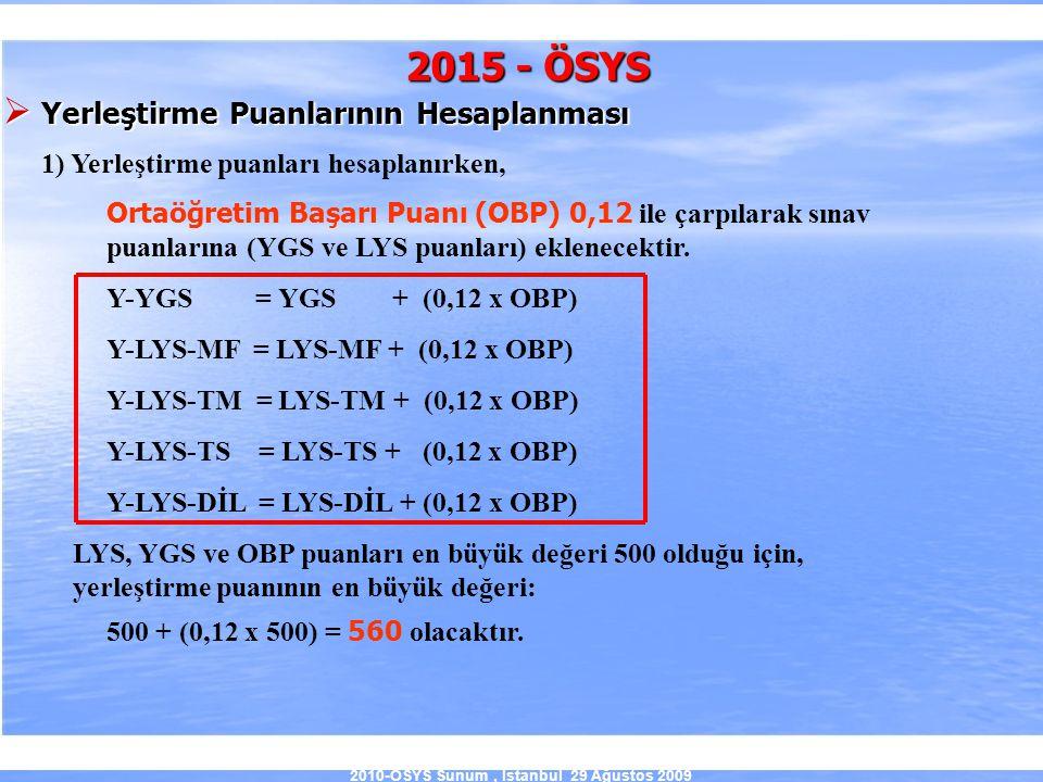 2010-ÖSYS Sunum, İstanbul 29 Ağustos 2009 2015 - ÖSYS  Yerleştirme Puanlarının Hesaplanması 1) Yerleştirme puanları hesaplanırken, Ortaöğretim Başarı