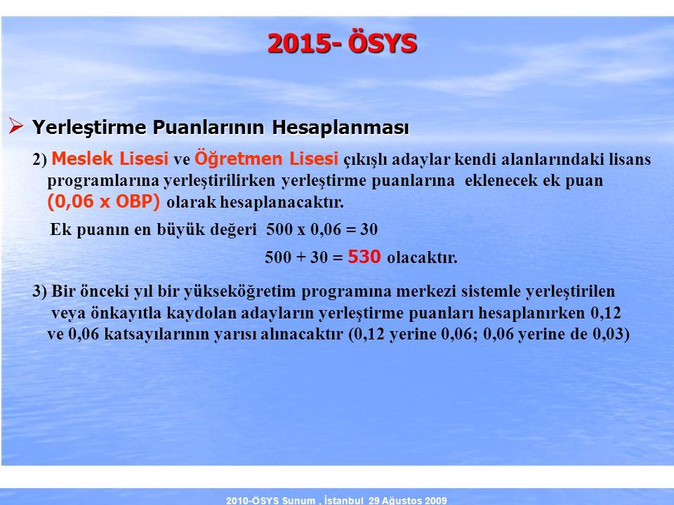 2010-ÖSYS Sunum, İstanbul 29 Ağustos 2009 2015- ÖSYS  Yerleştirme Puanlarının Hesaplanması 2) Meslek Lisesi ve Öğretmen Lisesi çıkışlı adaylar kendi