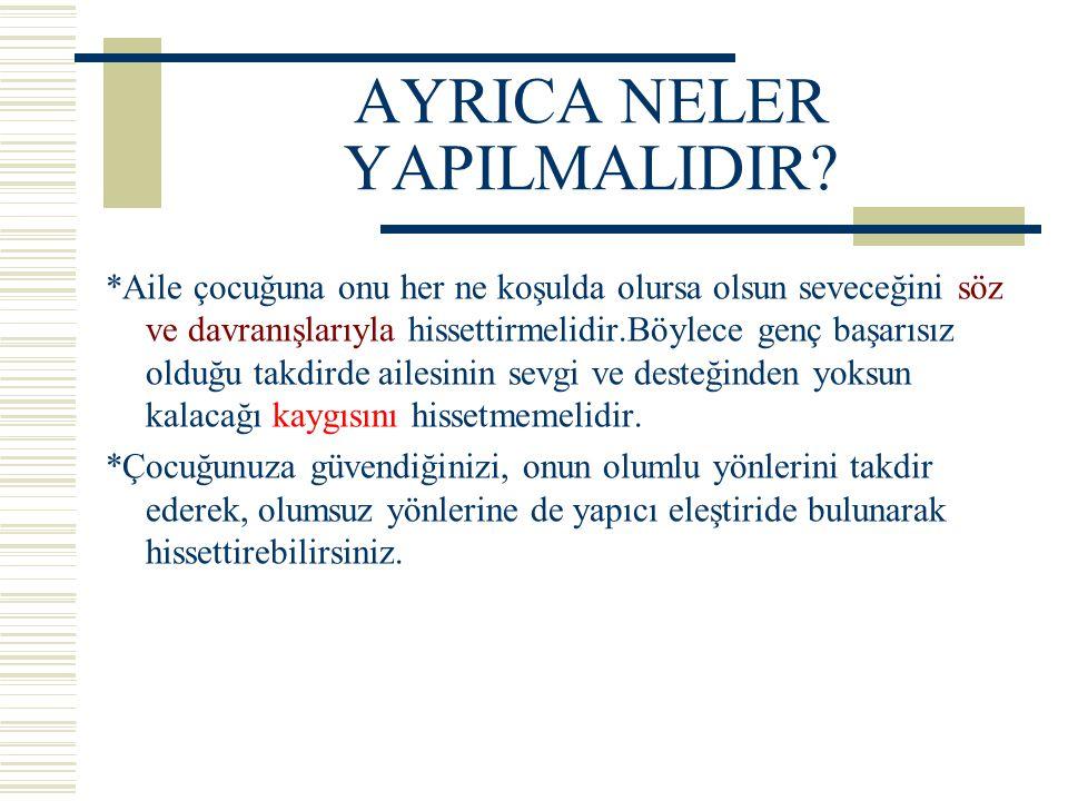 AYRICA NELER YAPILMALIDIR.