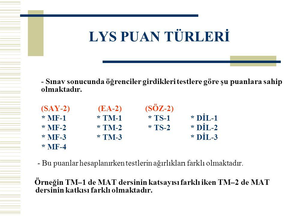LYS PUAN TÜRLERİ - Sınav sonucunda öğrenciler girdikleri testlere göre şu puanlara sahip olmaktadır. (SAY-2) (EA-2) (SÖZ-2) * MF-1 * TM-1 * TS-1 * DİL